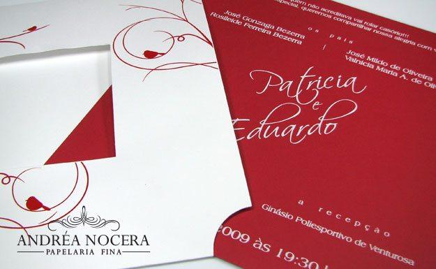 Convite de Casamento Vermelho e Branco