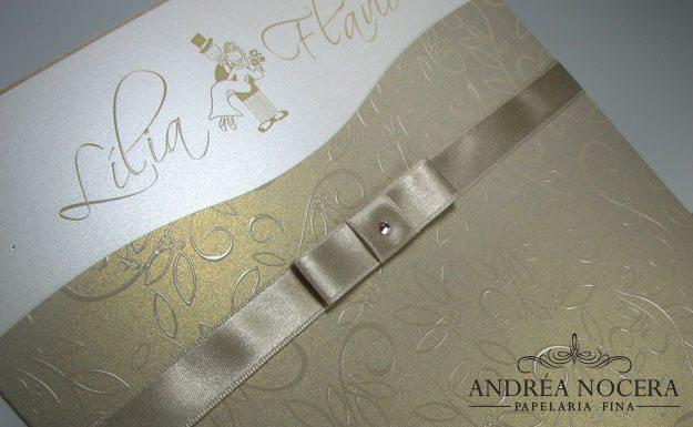 Convite Branco e Dourado