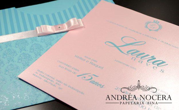 Convite de Debutante rosa e azul