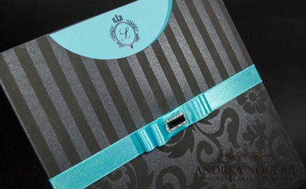 Convite de debutante Azul e Preto