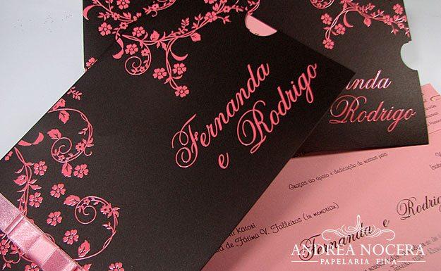 Convite Marrom e Rosa