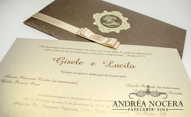 Convite de Casamento Marrom e Dourado