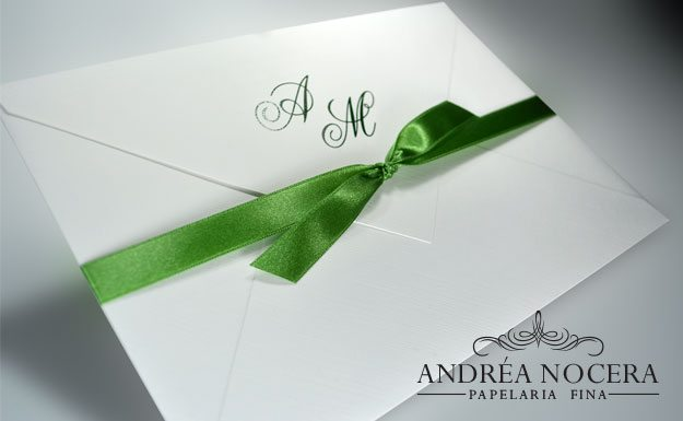 Convite de Casamento Branco e Verde