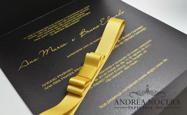 Convite de Casamento Preto Floral
