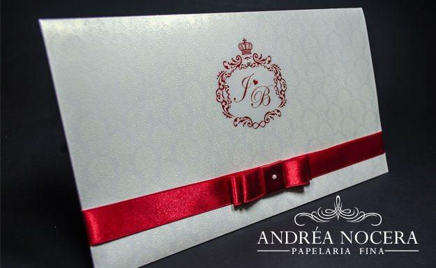 Convite de Casamento Branco e Vermelho