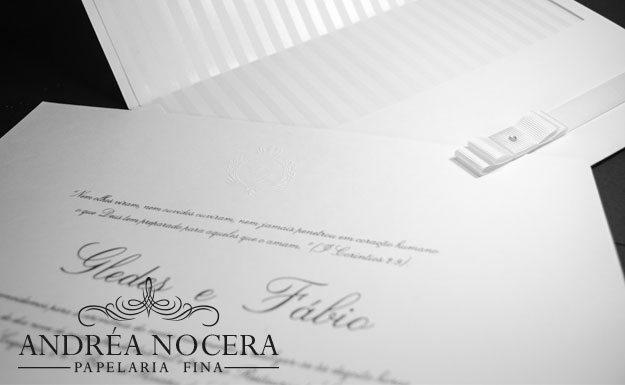 Convite de Casamento Branco e Prata