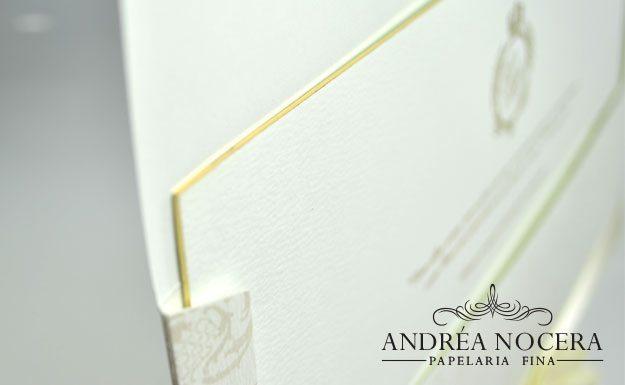 Convite de Casamento com Borda Dourada