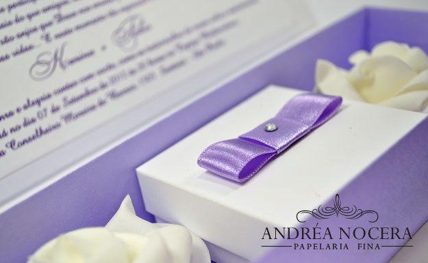 Convite de Casamento lilás com flores