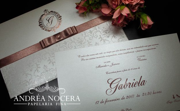 Flórida - Convite de debutante com impressão nude