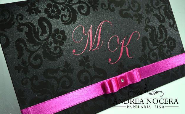 Convite de 15 anos preto e rosa