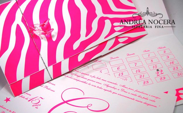 Convite de 15 anos Branco e rosa