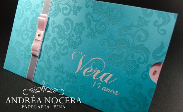Convite de Debutante Azul e Rosa
