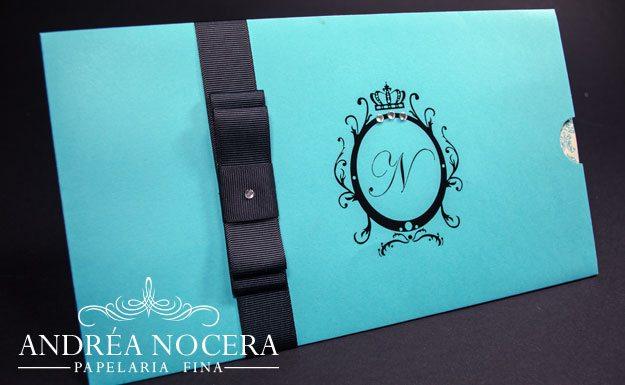 Convite de Debutante Preto e Azul Tiffany