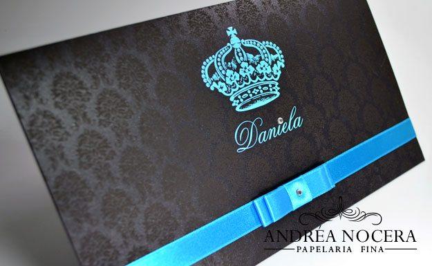 Convite preto e azul tiffany