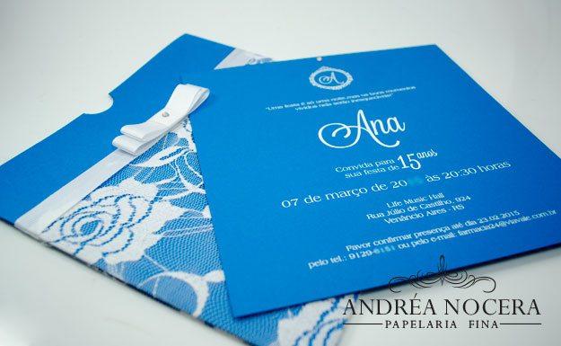 Convite de 15 anos azul tiffany rendado