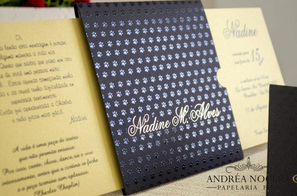 Convite de Debutante Preto e Dourado