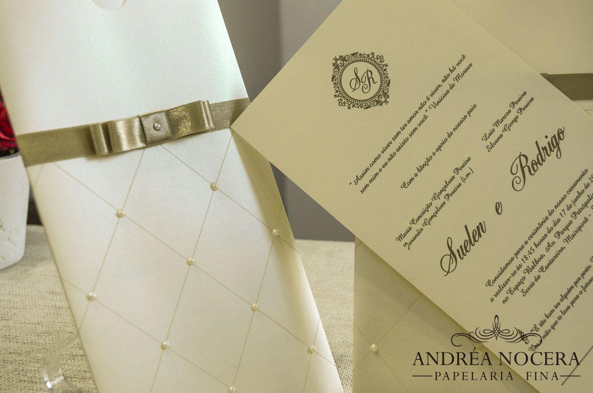 Convite de Casamento com Pérolas