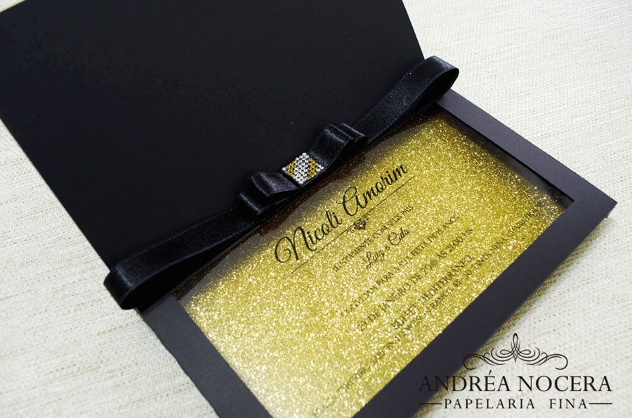 Convite de Debutante com Gliter