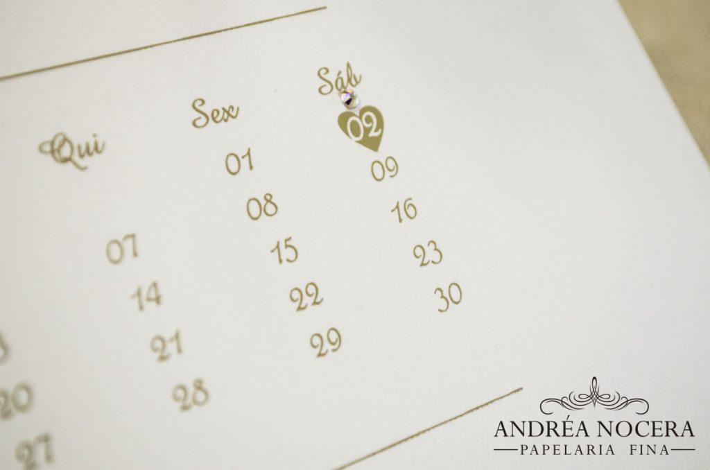 Convite de Casamento com Calendário