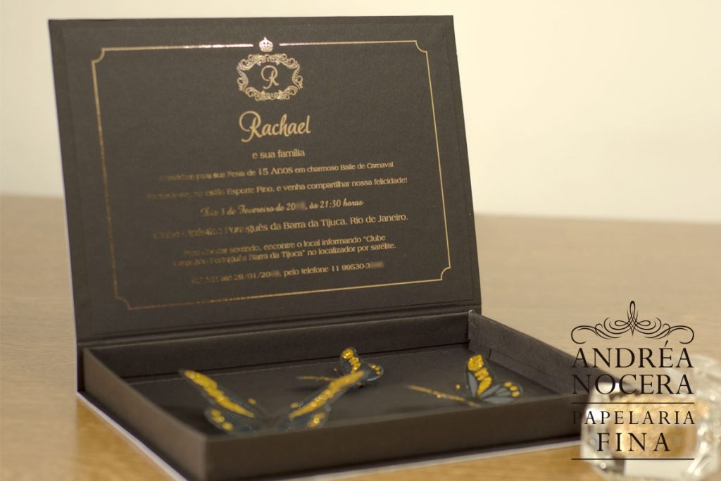 Convite de Debutante com borboleta