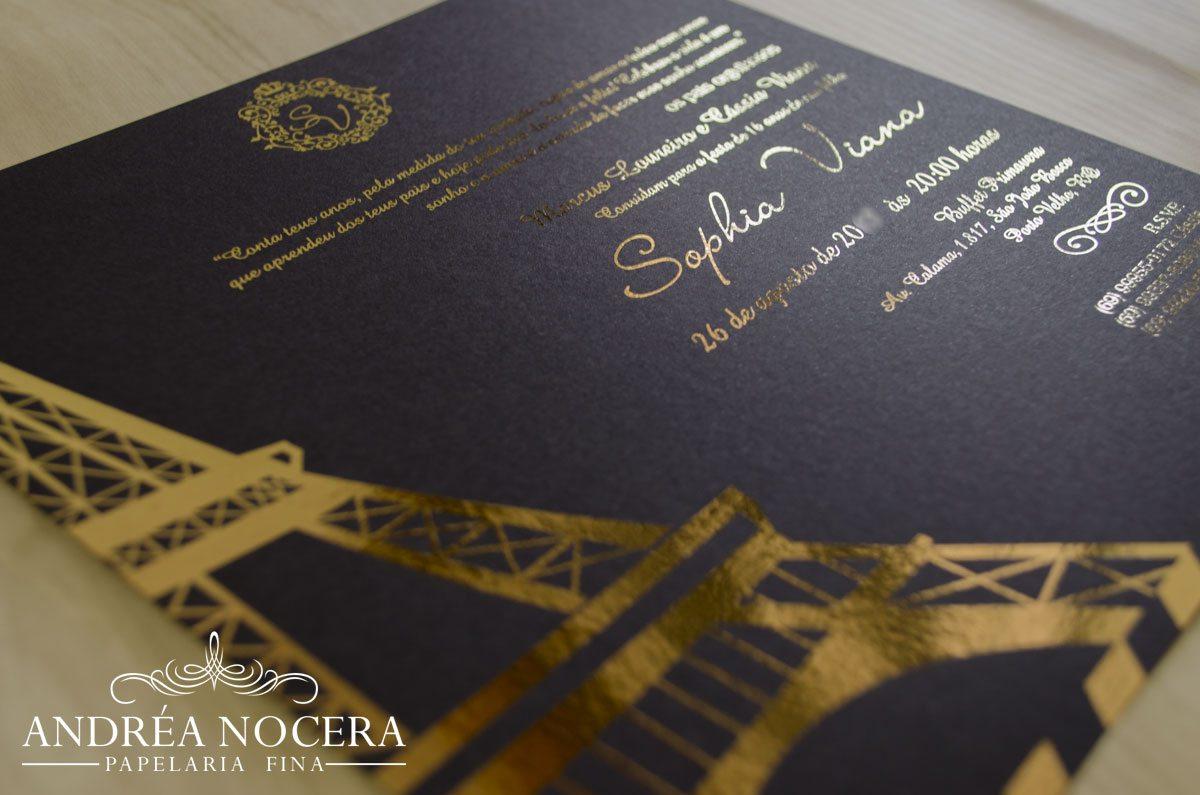 Convite de Debutante com o tema Paris