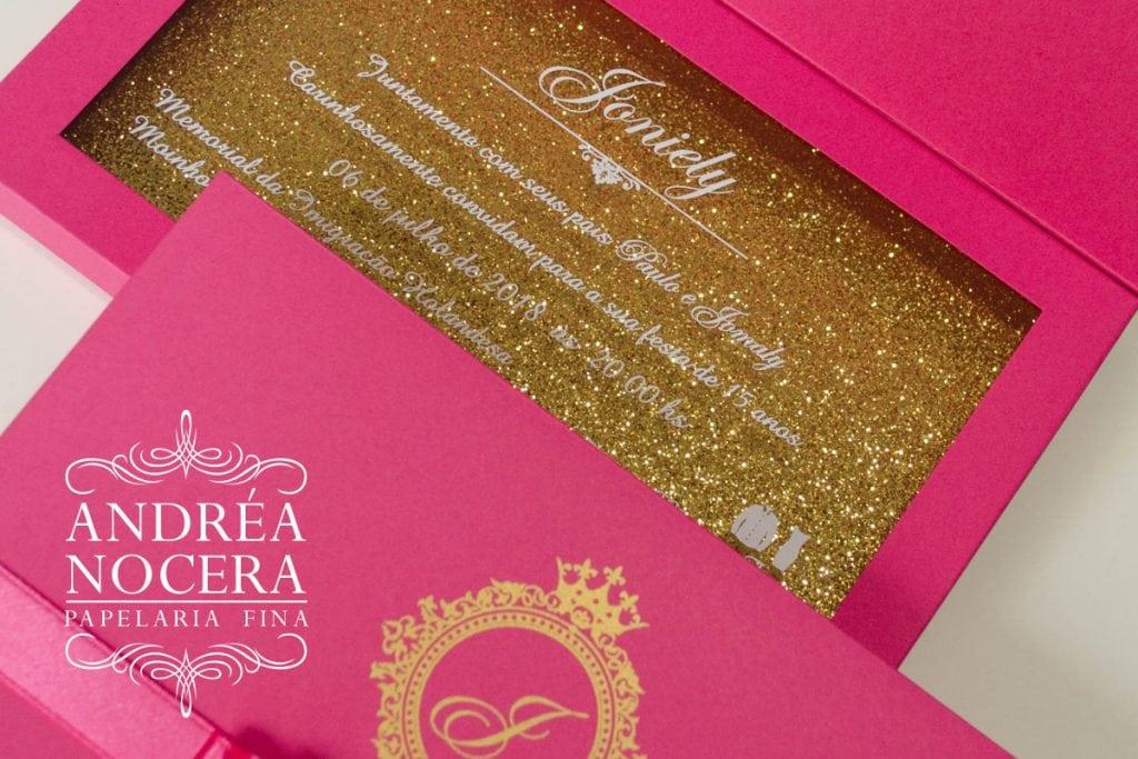 Convite de Debutante Rosa com Gliter