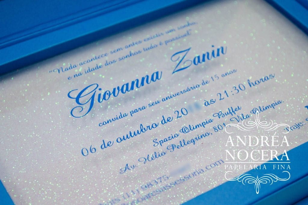 Convite de Debutante com Gliter Branco