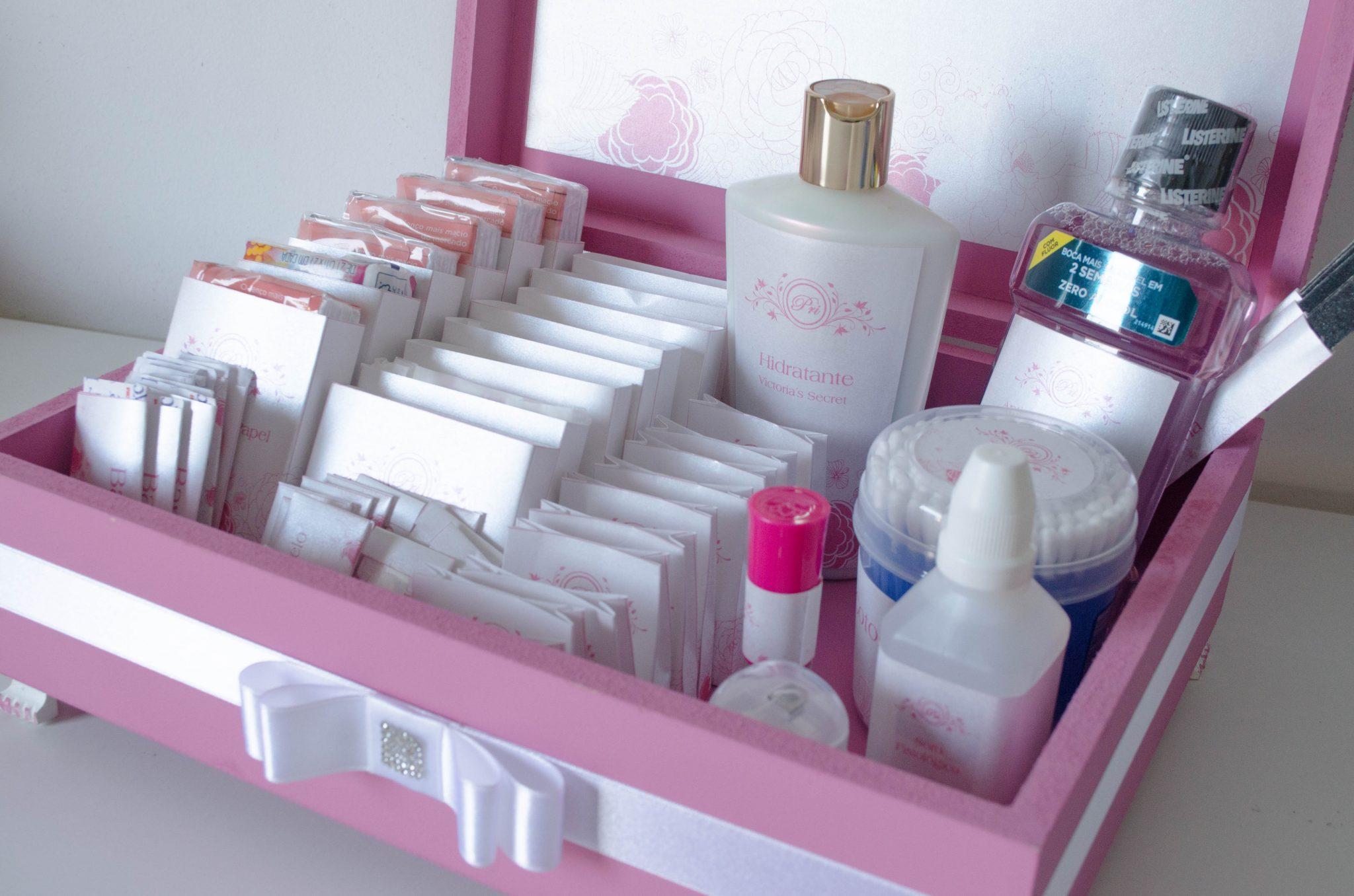 Kit-Toalete Rosa e Branco