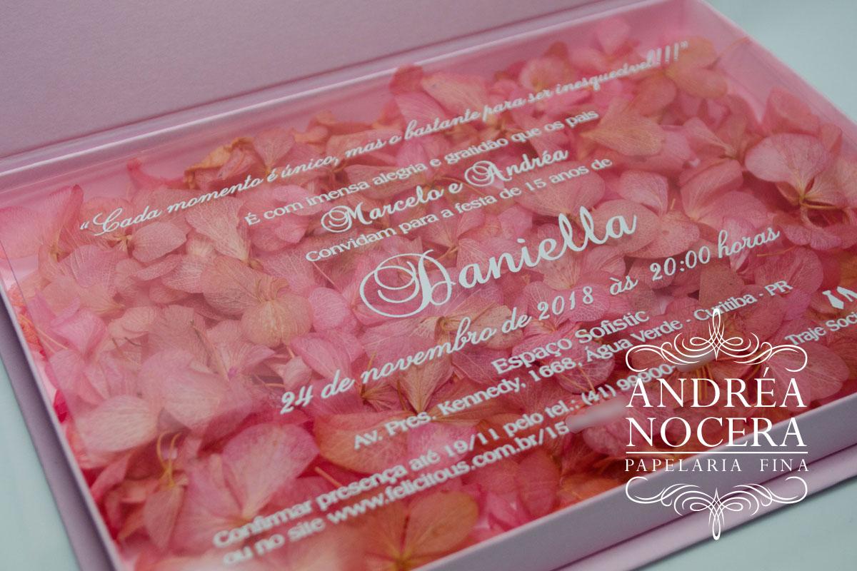 Convite Floral para festa de 15 anos