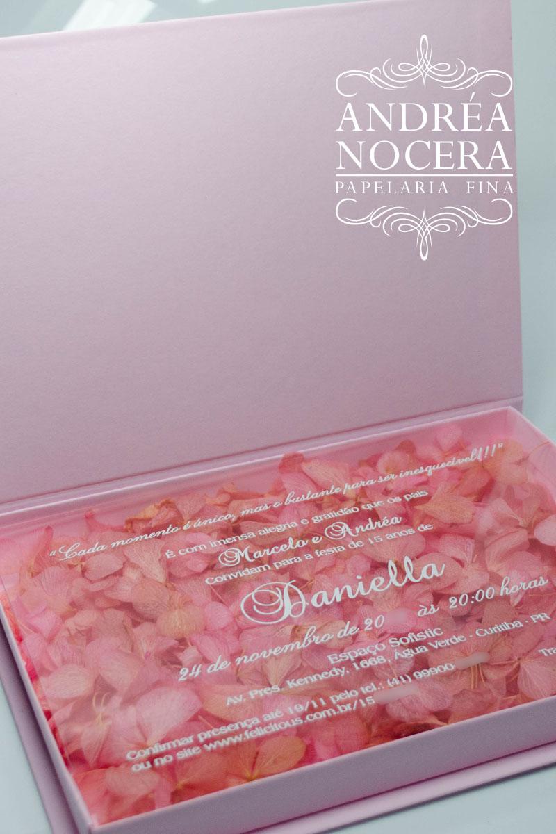 Convite Floral para festa de 15 anos Rosa e Dourado
