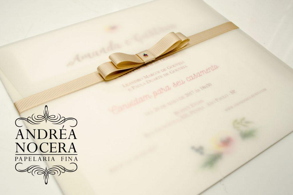 Convite de Casamento em Papel Vegetal Aquarelado