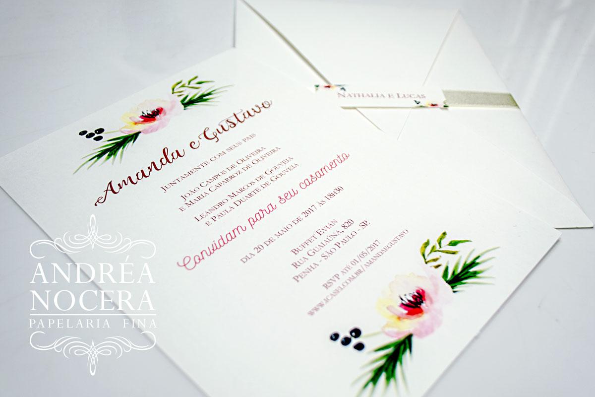 Convite de Casamento Branco de Bico