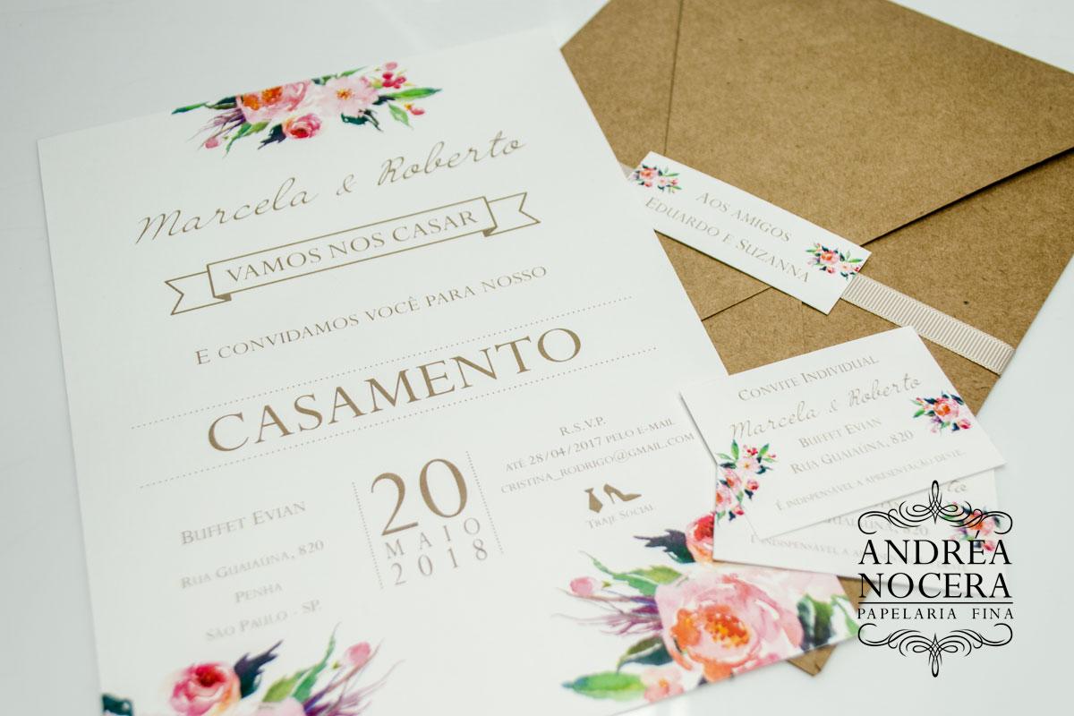 Convite de Casamento de Bico Aquarelado