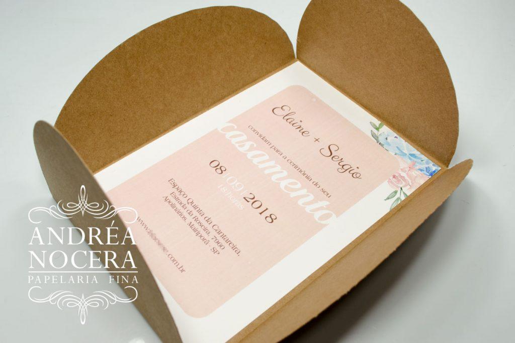 Convite de Casamento em Papel Kraft Aquarelado
