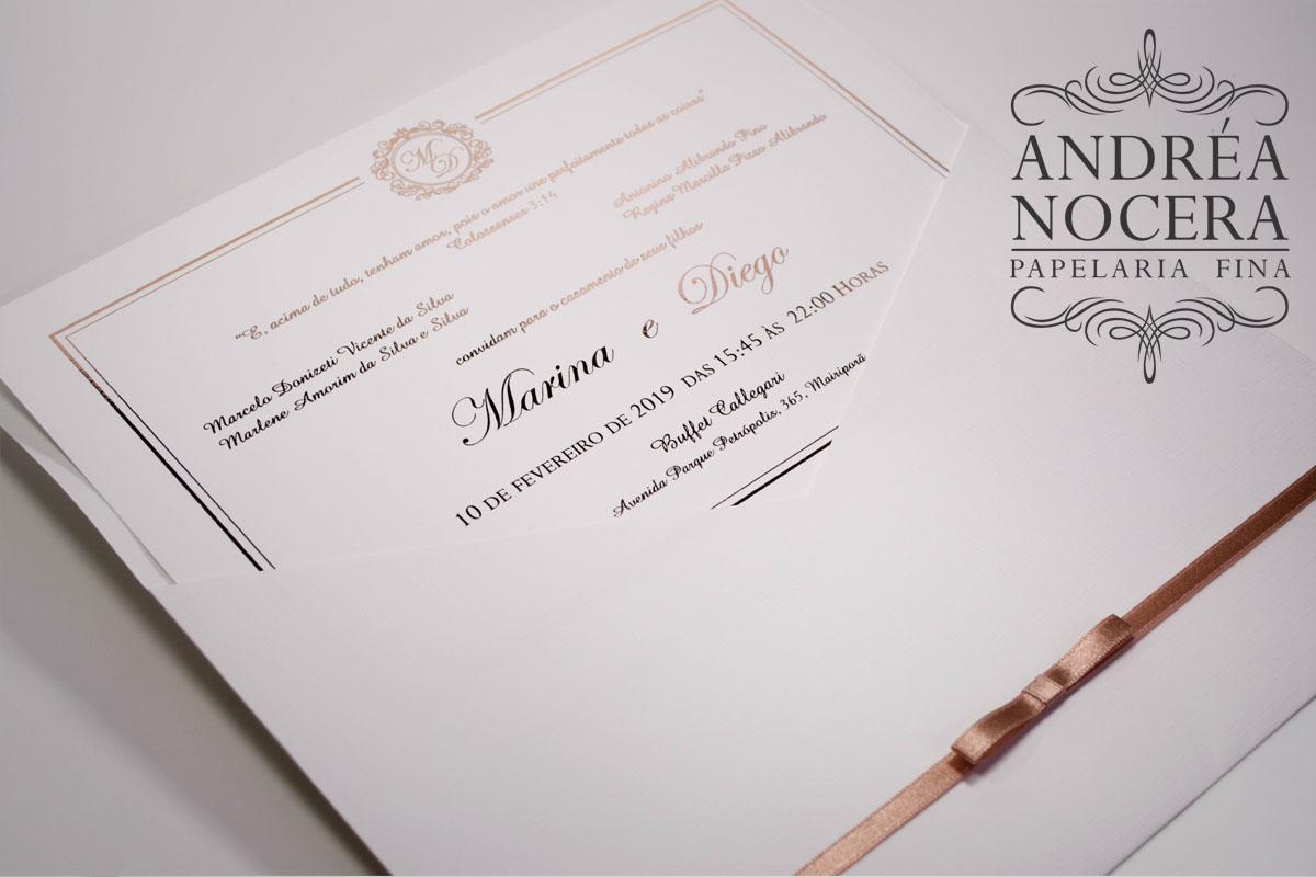 Convite Clássico branco e rose