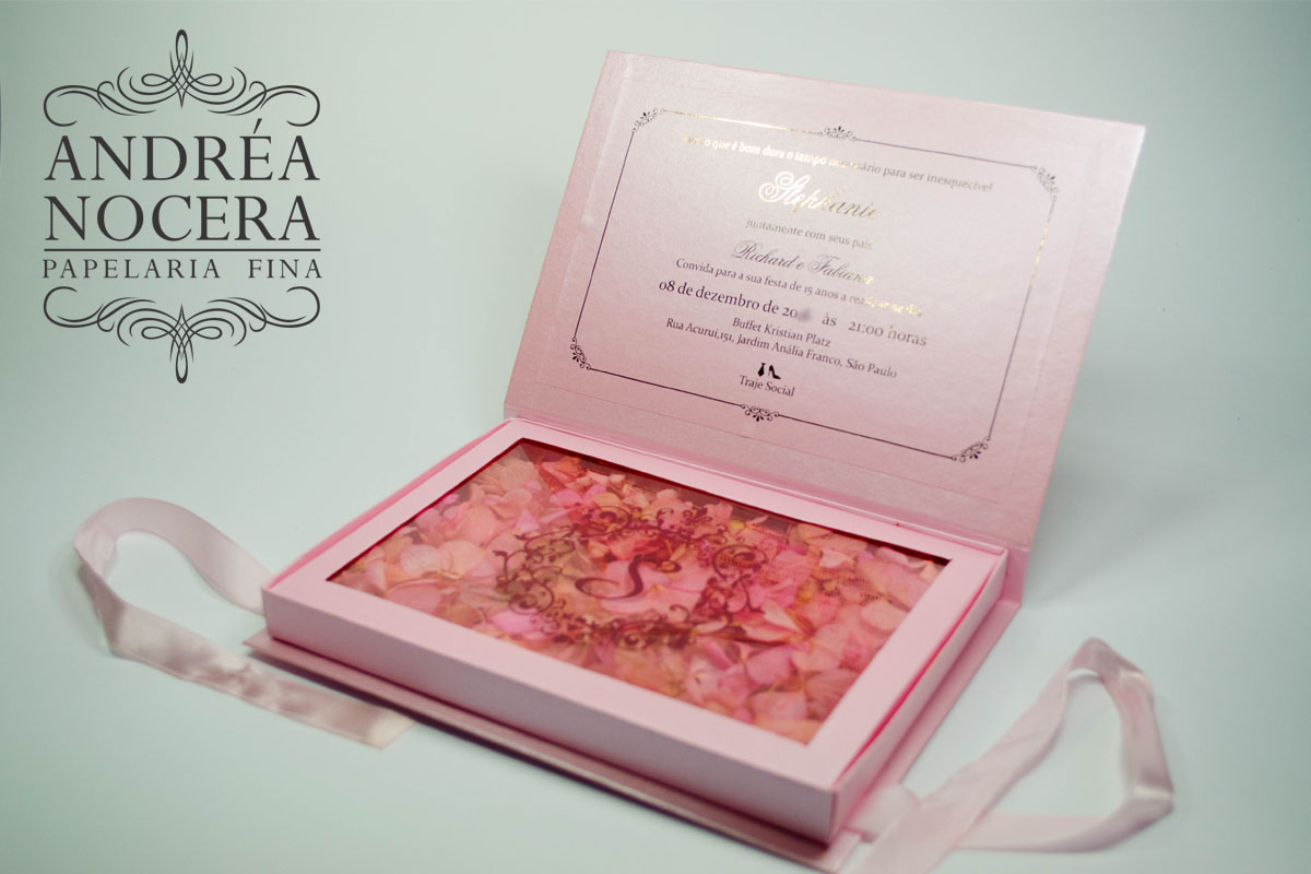 Convite a Bela e a Fera cor de rosa