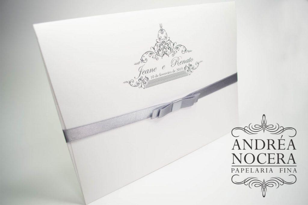 Convite de Casamento Branco e Cinza