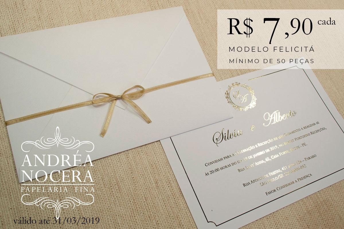 Convite com Impressão em Hot-Stamping Dourado