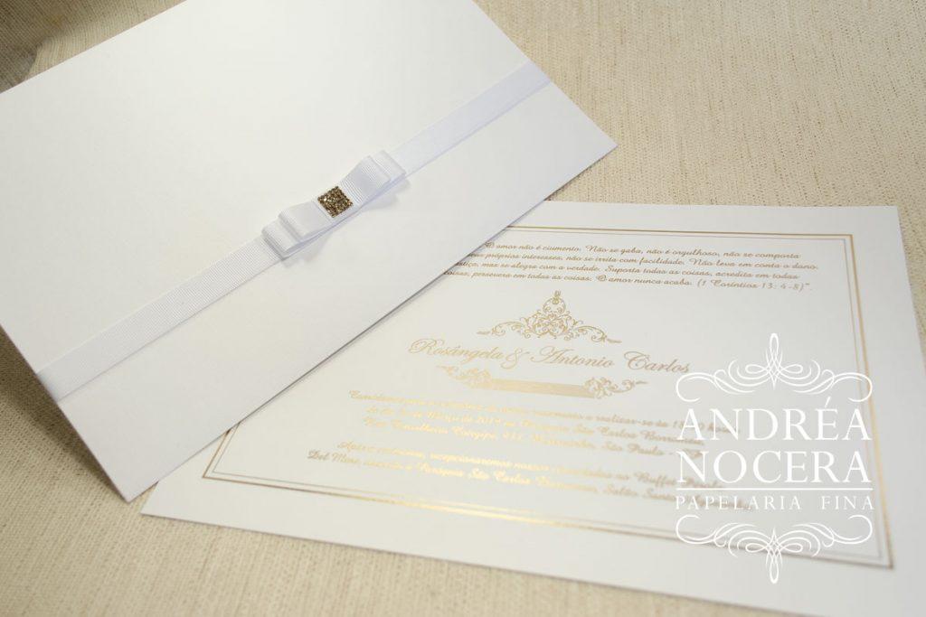 Convite de Casamento Clássico Branco
