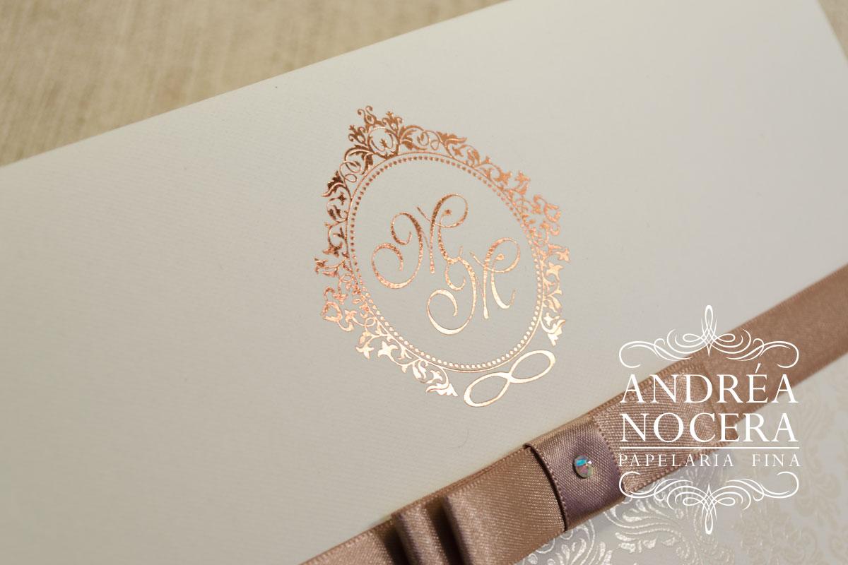 Convite de Casamento com Impressão em ouro rosê