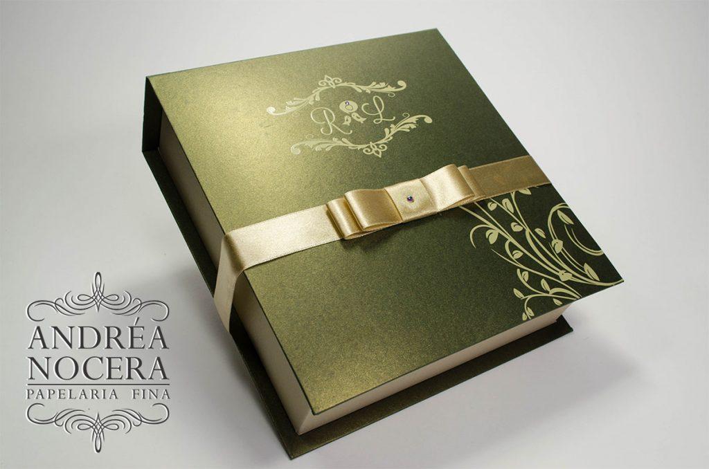 Convite para Padrinhos cor verde e dourado