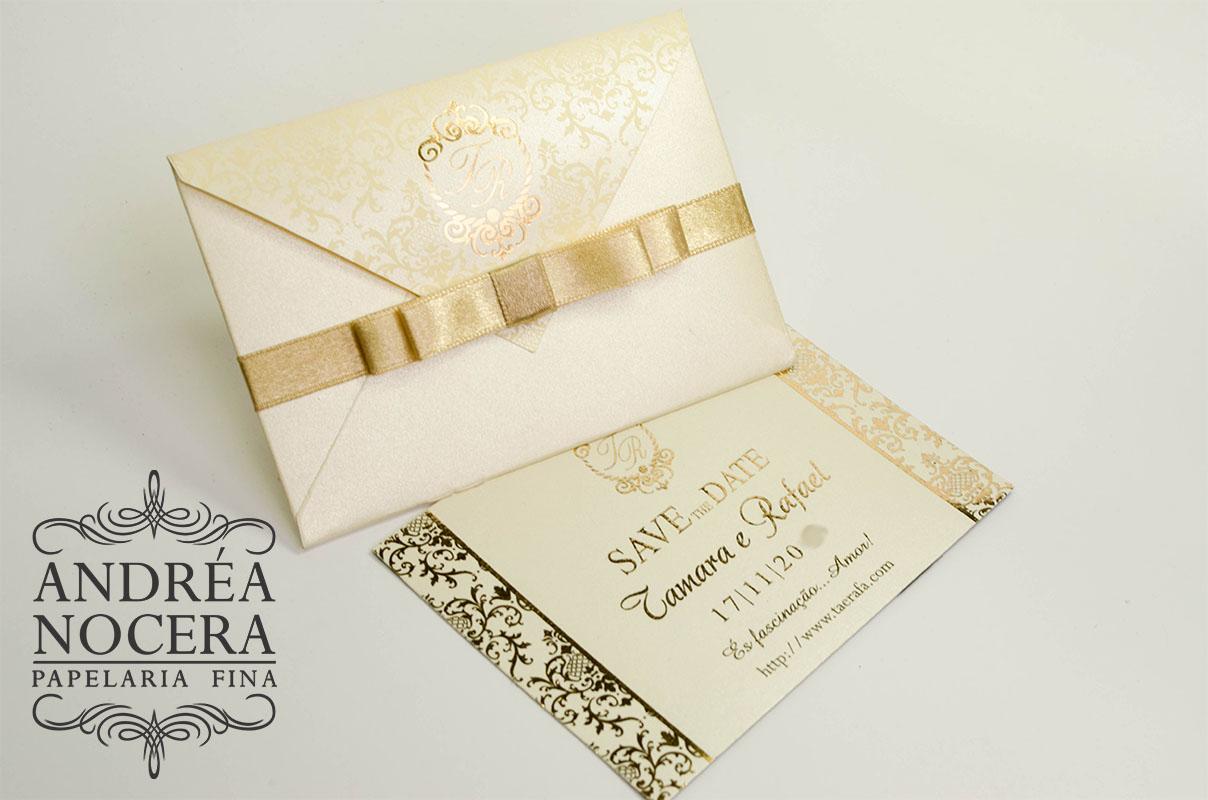 save the date dourado para casamento