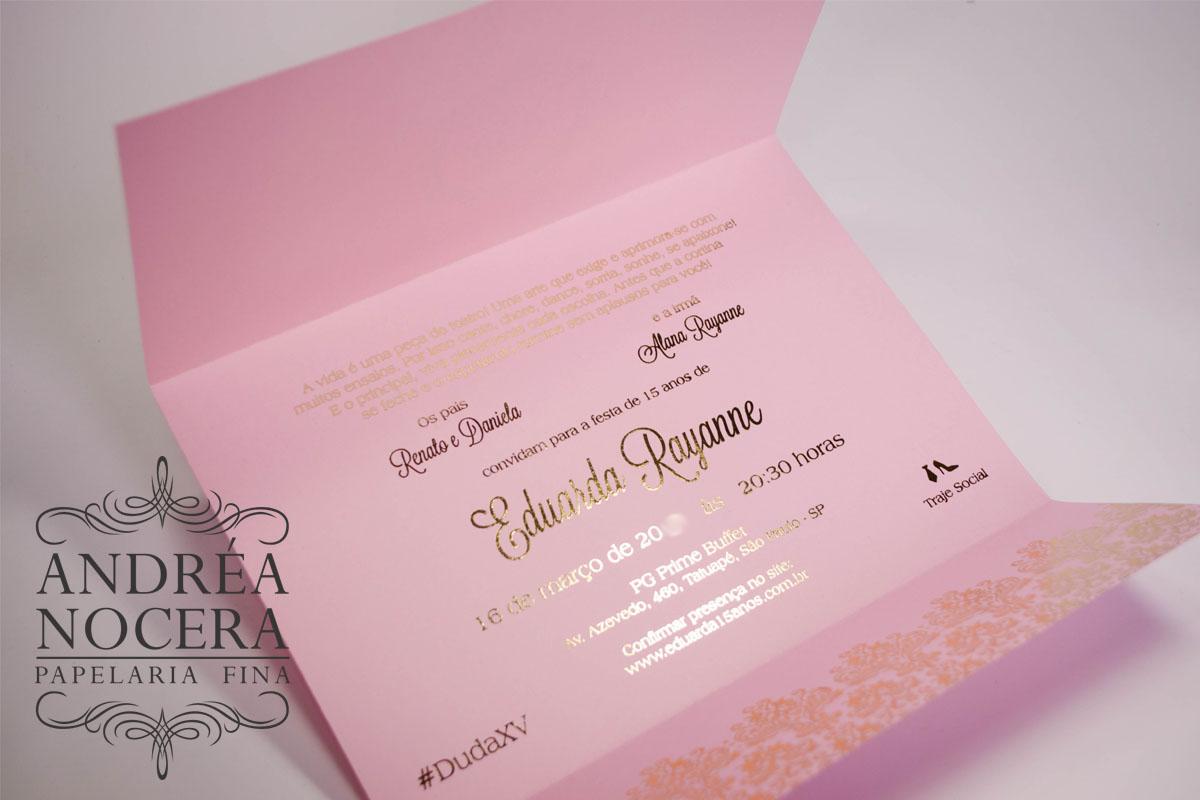 Convite de Debutante Rosa e Dourado