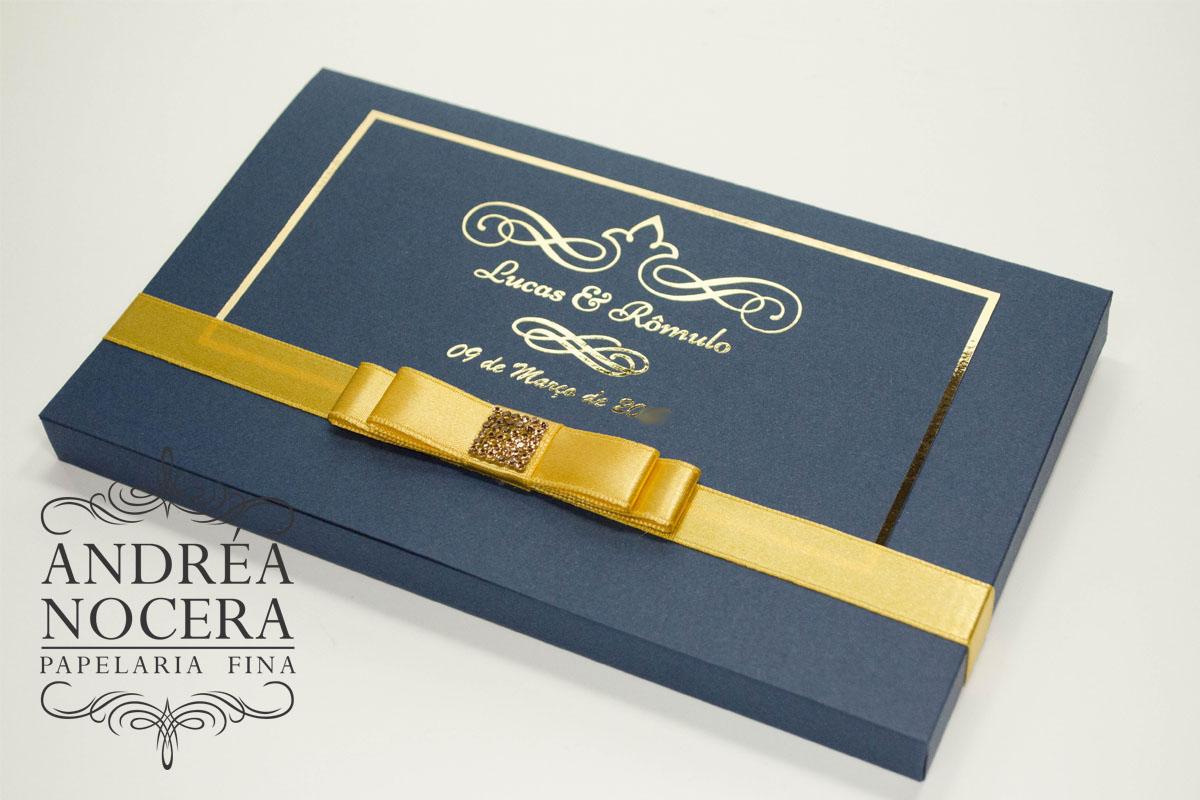 Convite de Casamento Azul e Dourado
