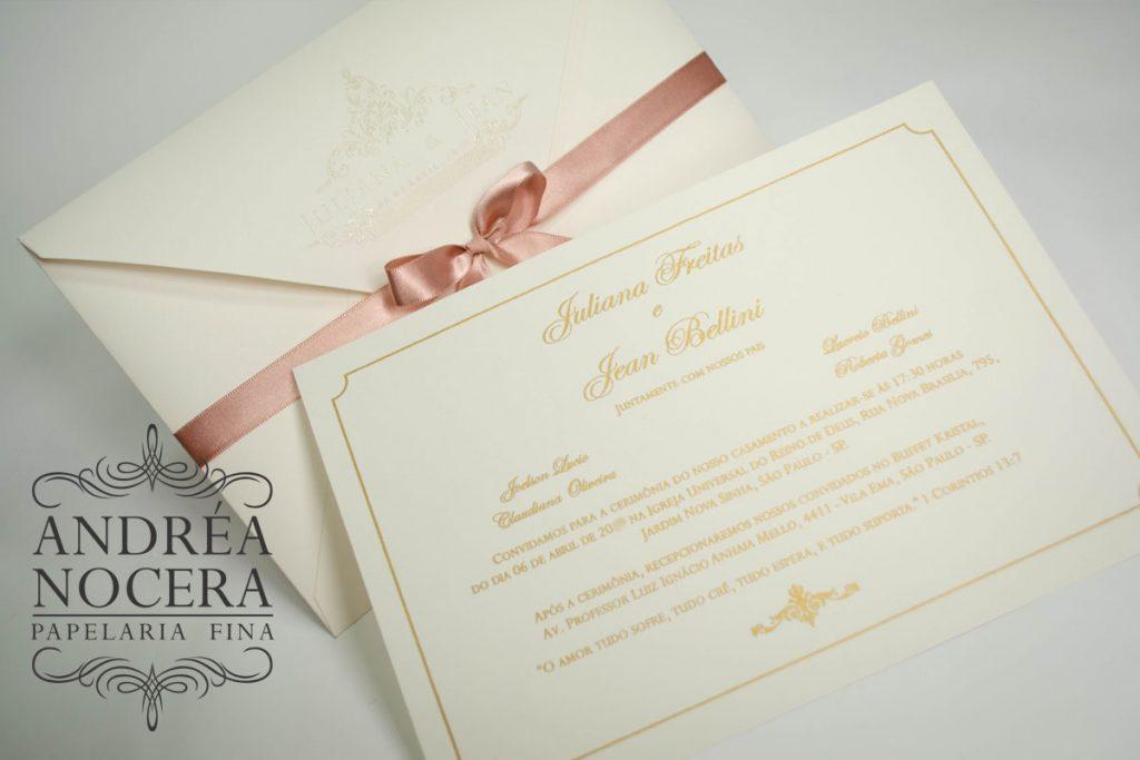 Convite com impressão Rosê Gold