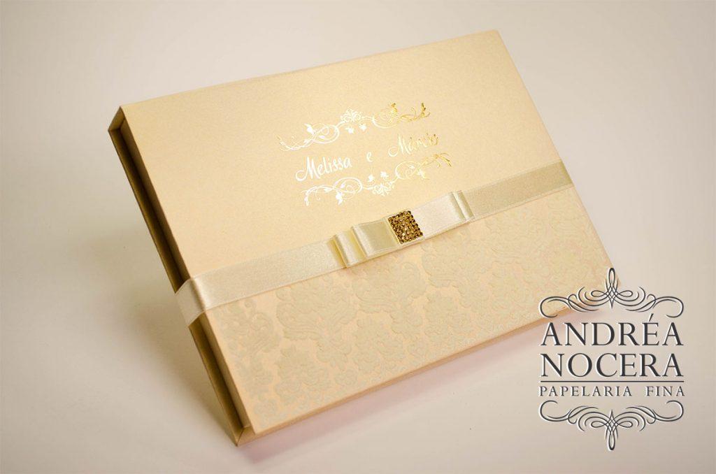 Convite de casamento box com espelho e veludo