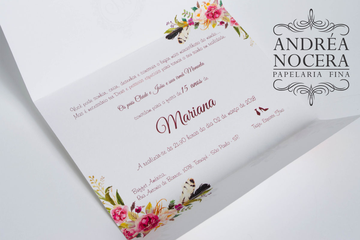 Convite floral cor Marsala