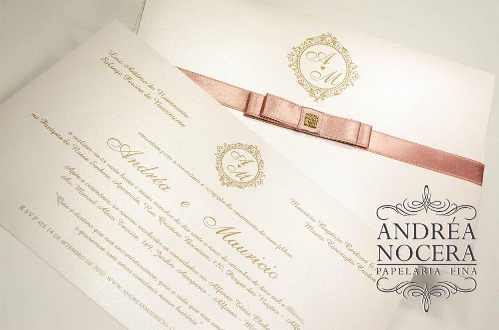 Convite de casamento rose e ouro