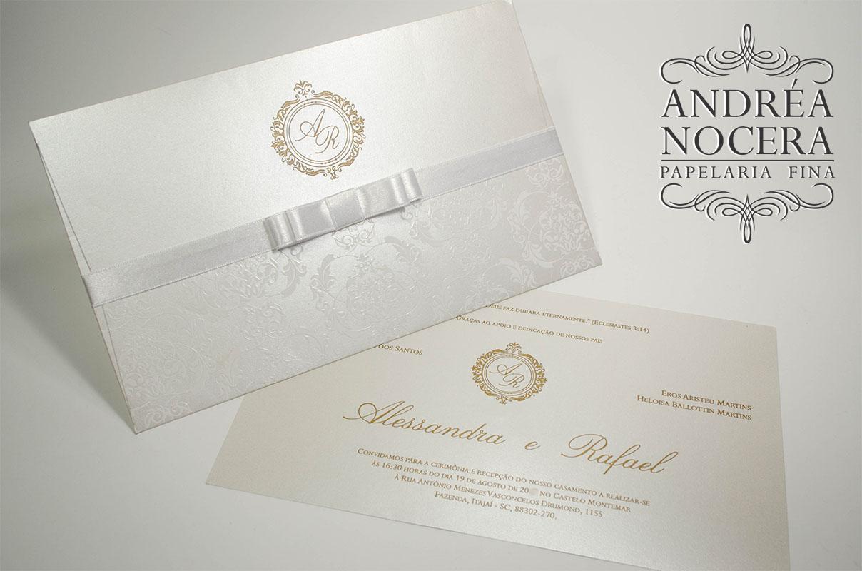 Convite classico branco ouro