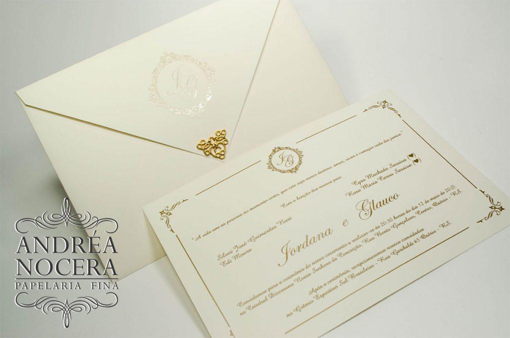 Convite de casamento clássico com ponteira